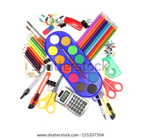 School and office supplies, watercolor, calculator isolated on white background