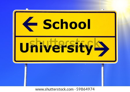 school and university education concept with yellow road sign - stock photo
