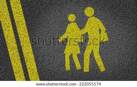 School Area Icon written on road - stock photo