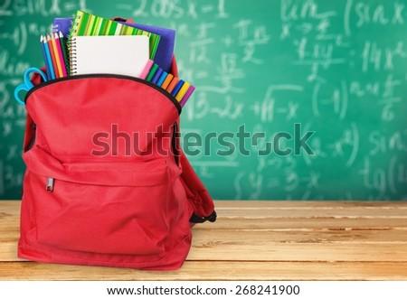 School, back, bag. - stock photo