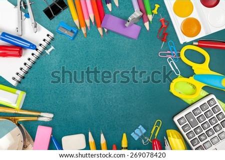 School, back, blackboard. - stock photo