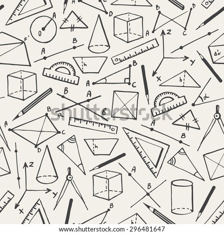 School background. Doodle style seamless pattern. Geometry objects and figures, pencils, compasses, rulers, lines. Raster version.