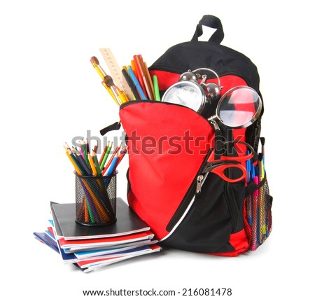 School backpack and school tools. On a white background. - stock photo