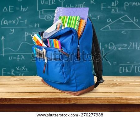 School, backpack, back. - stock photo