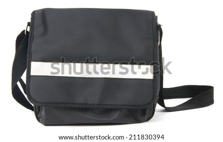 School backpack. On a white background. - stock photo