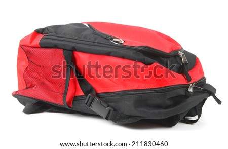 School backpack. On a white background.