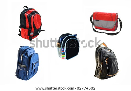 school backpacks is isolated on white background - stock photo