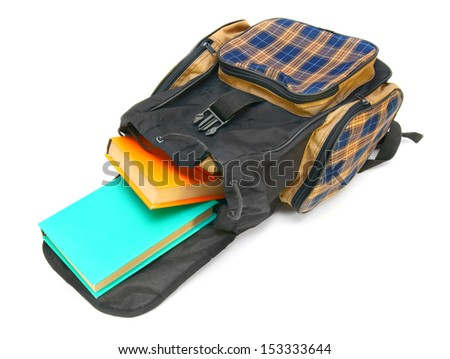 School bag and books inside. On a white background.