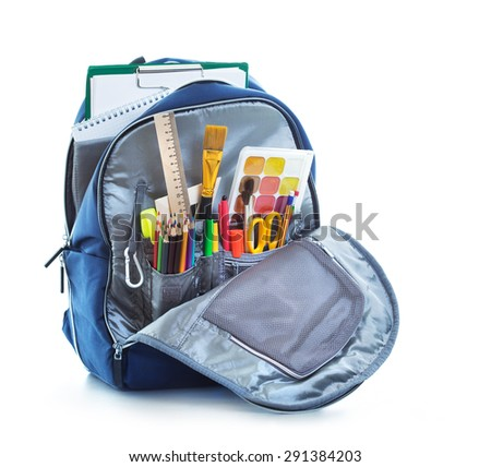 School bag on white background