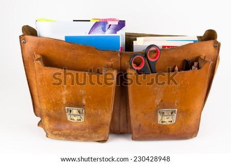 School bag with books  - stock photo