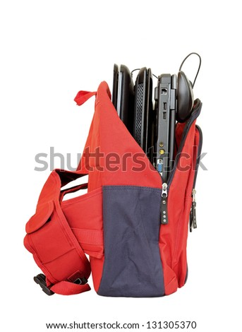 school bag with laptops isolated - stock photo