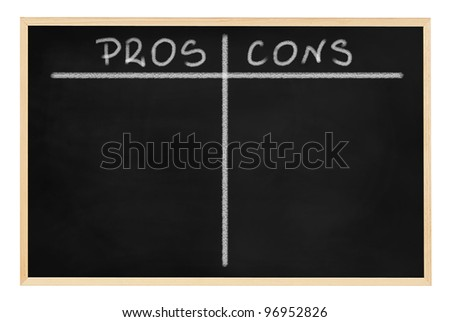 School blackboard (chalkboard) with empty pros and cons table