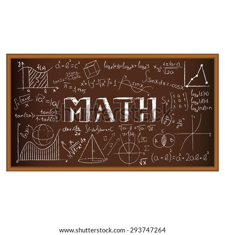 School board doodle with formulas and graphs on math. Illustration. Set of education and learning doodles with school objects. - stock photo