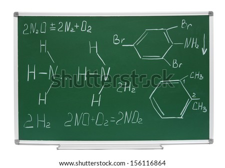 School board of hectares a white background (Chemical formulas). - stock photo