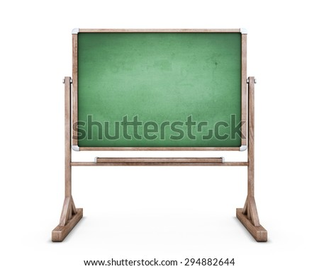 School board on legs isolated on white background. Blackboard for your text. 3d illustration.