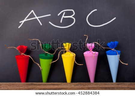 School board with letters ABC and school cones