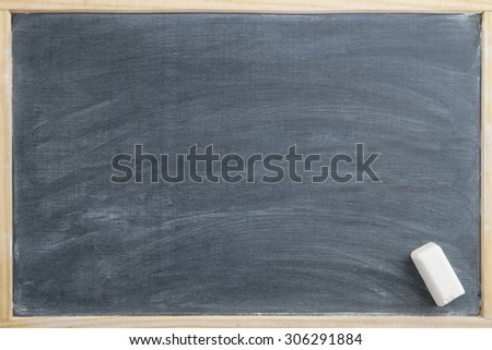 School board with white chalk, old black chalkboard as background - stock photo