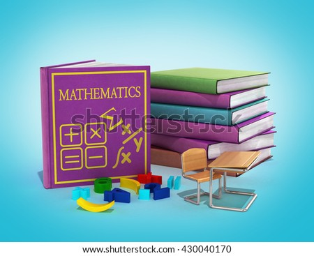 school books on mathematics 3d render on gradient - stock photo