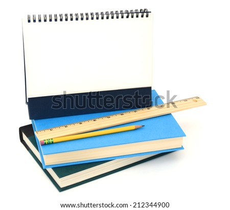 School books, studying with calender planner - stock photo
