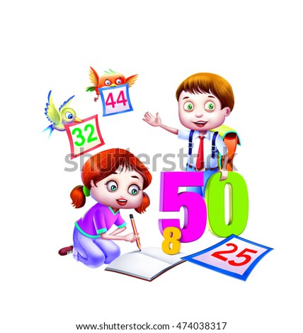 School boy and girl with numbers 50