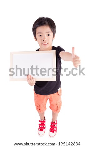 school boy holding a blank whiteboard, isolated on white background - stock photo