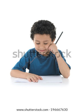 School Boy Thinking about His Homework Isolated on White Background - stock photo