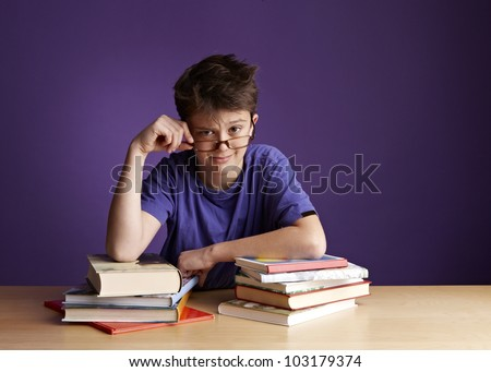 School Boy With Glasses Looking - stock photo