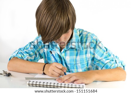 school boy with pencil and ruler, isolated on white.