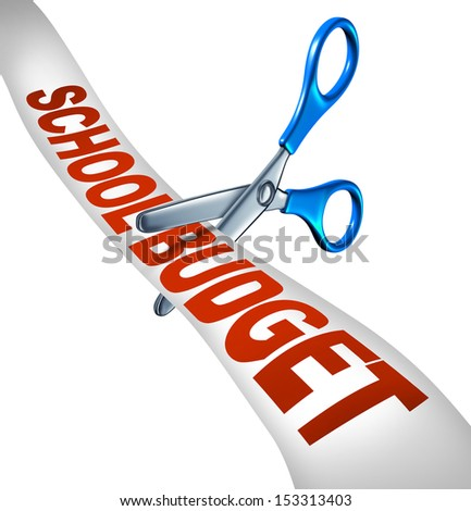School budget cuts symbol for reducing education expenditures by slashing music and arts programs and eliminating with student scissors cutting a receipt like ribbon as an icon of teaching cutbacks.