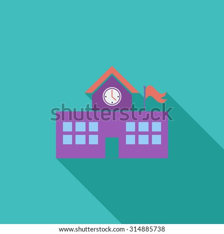 School building icon. Flat related icon with long shadow for web and mobile applications. It can be used as - logo, pictogram, icon, infographic element. Illustration. - stock photo