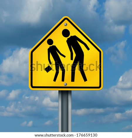 School bullying concept as a yellow traffic sign with an abusive bully attacking a smaller defenseless student as a symbol of the anxiety of being bullied and the social issues of childhood fear. - stock photo