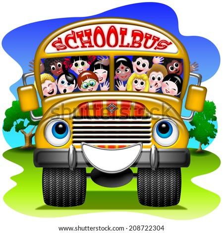 School Bus Cartoon - stock photo
