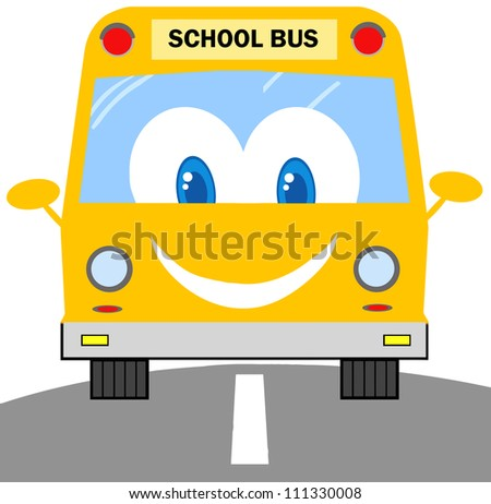 School Bus Cartoon Character. Raster Illustration.Vector version also available in portfolio. - stock photo