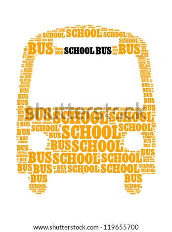 school bus collage Composed in the shape of bus - stock photo