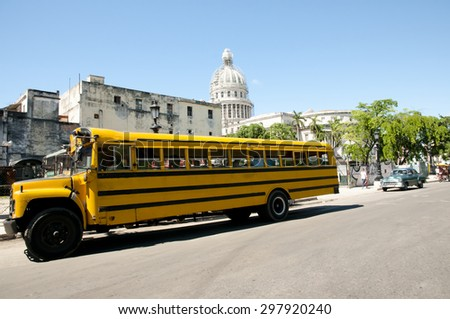 School Bus - Havana - Cuba - stock photo