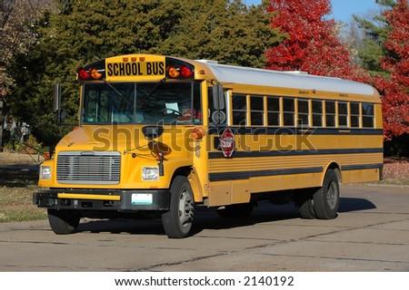 School Bus in the Neighborhood - stock photo