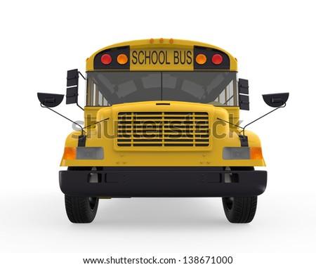School Bus Isolated on White Background - stock photo
