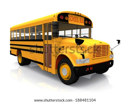 school  bus on a white background - stock photo