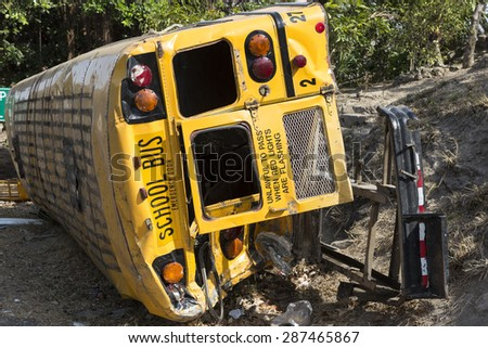 school bus rolled over in an accident