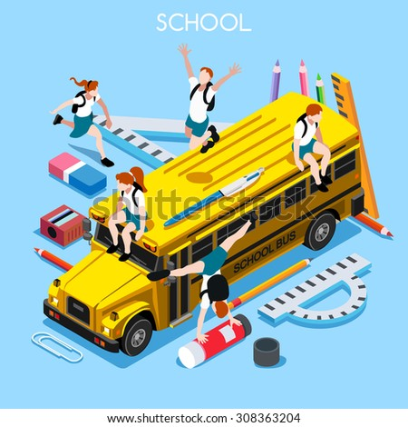 School Bus with Group of Students and Stationery. 3D Flat Isometric People Students. Yellow Bus 4 Back to School concept. Education Infographic School Bus Vehicle and Group of Students Illustration.