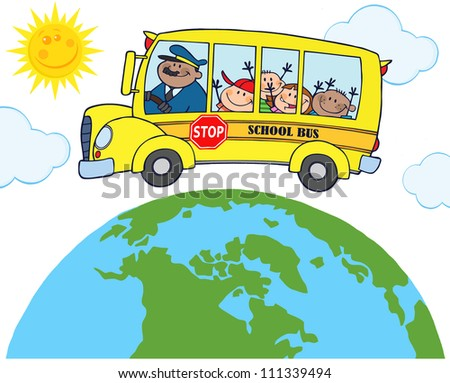 School Bus With Happy Children Around Earth . Raster Illustration.Vector version also available in portfolio. - stock photo