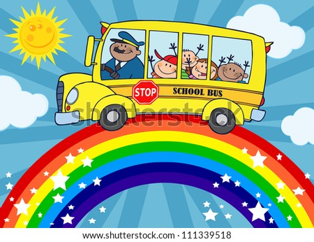 School Bus With Happy Children Around Rainbow . Raster Illustration.Vector version also available in portfolio. - stock photo