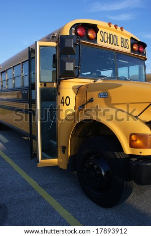 School Bus with Open Door - stock photo