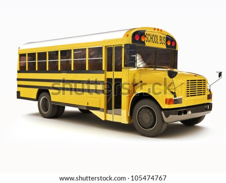 School bus with white top isolated on a white background