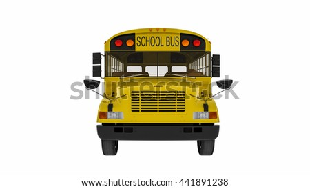 School bus, yellow transportation vehicle isolated on white background, front view, 3D illustration