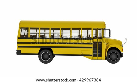 School bus, yellow transportation vehicle isolated on white background, side view, 3D illustration