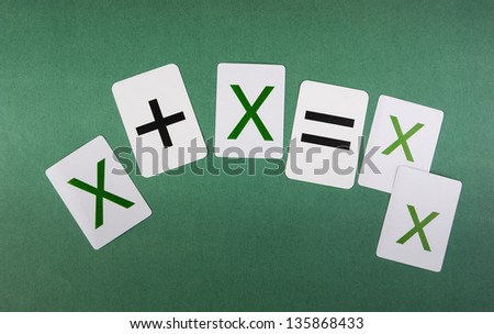 School card with math problems on the green background