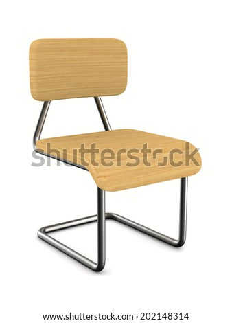 School chair on white background. Isolated 3D image - stock photo
