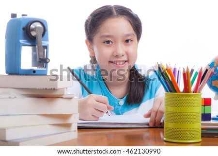 School Child girl with education Concept.