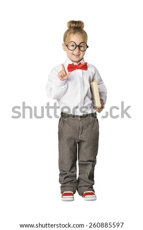 School Child Portrait, Little School Girl in Glasses with Book, Kid Finger Point Up, Small Student Isolated Over White Background, Early Education Concept
